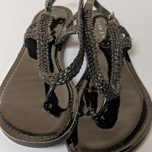 GIANNI BINI BLACK BRAIDED STRAP SANDALS SIZE 8